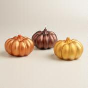 Small Matte Metallic Pumpkin Candles, Set of 3
