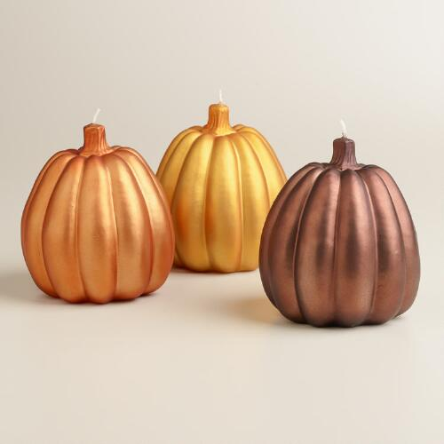 Large Matte Metallic Pumpkin Candles, Set of 3