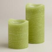 Olive LED Pillar Candles