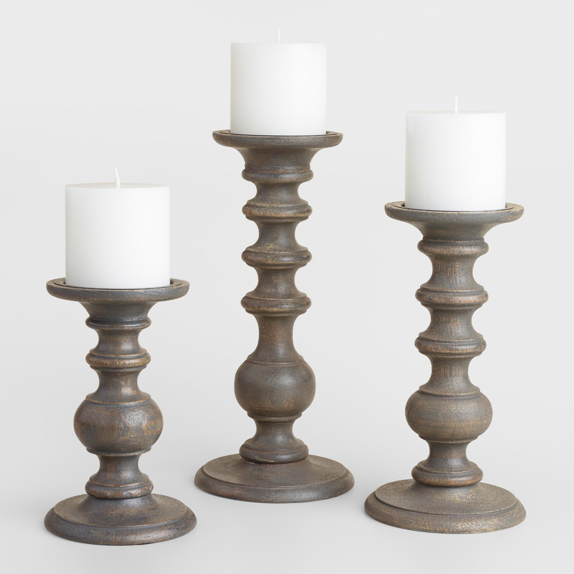 Gray wood pillar candleholder world market Wood candle holders