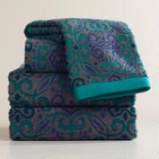 Teal and Gray Adriana Medallion Sculpted Bath Towel Collection