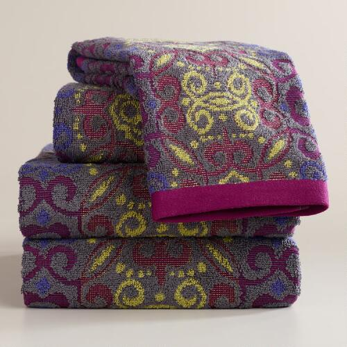Gray and Plum Adriana Medallion Sculpted Bath Towel Collection