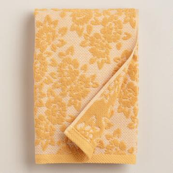 Amber Honeycomb Floral Sculpted Bath Towel
