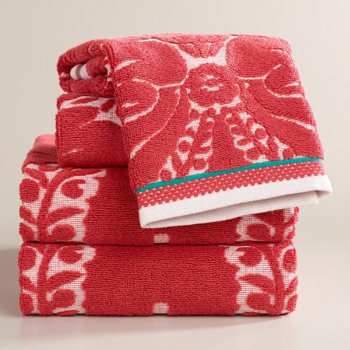 Coral Esme Sculpted Bath Towel Collection