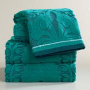 Teal Esme Sculpted Bath Towel Collection