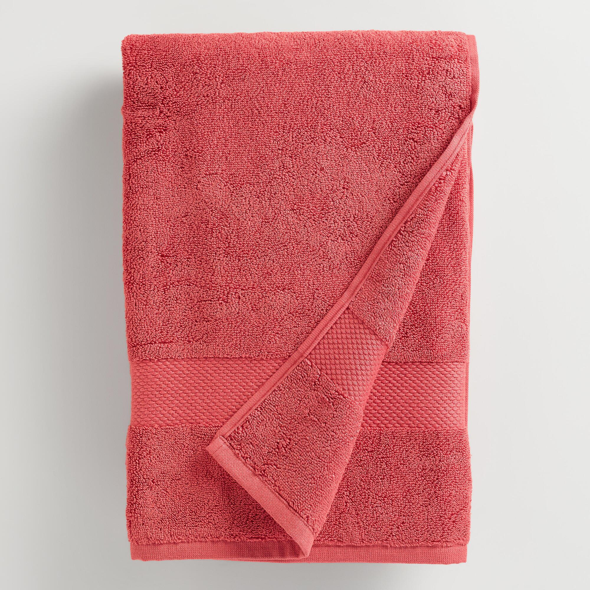 Coral Cotton Bath Towel World Market