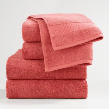 Coral Cotton Bath Towel Collection