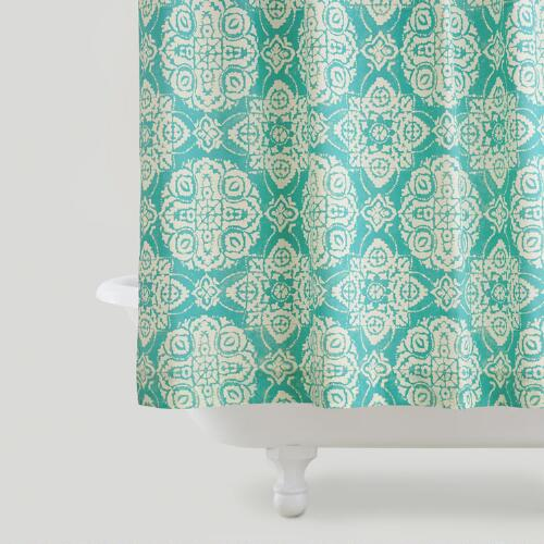 Turquoise Amina Medallion Shower Curtain