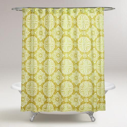 Oasis Green Amina Medallion Shower Curtain