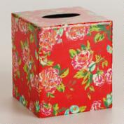 Coral Floral Tissue Box Cover