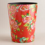 Coral Floral Trash Can