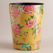 Yellow Floral Trash Can