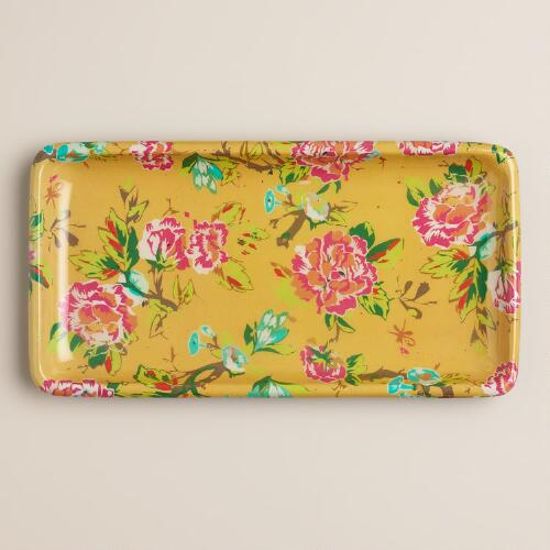 Yellow Floral Bath Tray