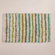 Blue and Oasis Green Striped Shag Bath Mat