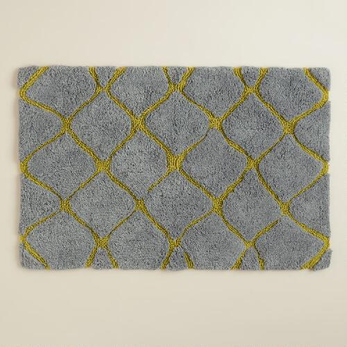 Oasis Green and Frost Gray Ogee Bath Mat
