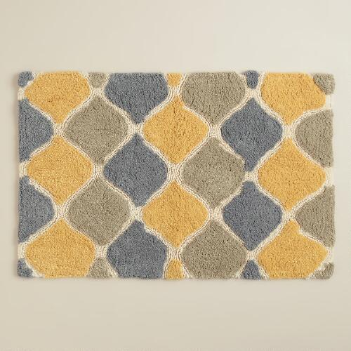 Yellow and Taupe Ogee Bath Mat