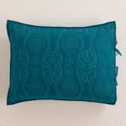 Ink Blue and Aqua Simone Pillow Shams, Set of 2