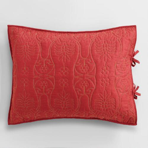 Coral and Oasis Green Simone Pillow Shams,  Set of 2