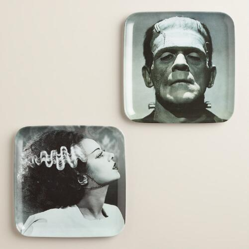 Frankenstein's Monster and Bride Plates, Set of 2