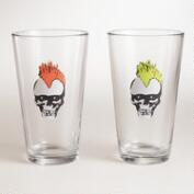 Punk Skull Pint Glasses, Set of 2