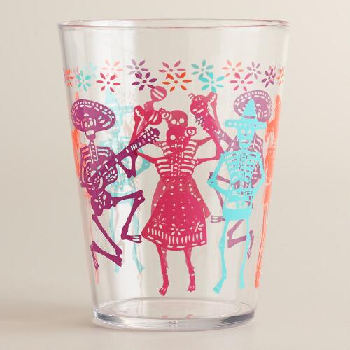 Dia de los Muertos Glass Tumblers, Set of 4