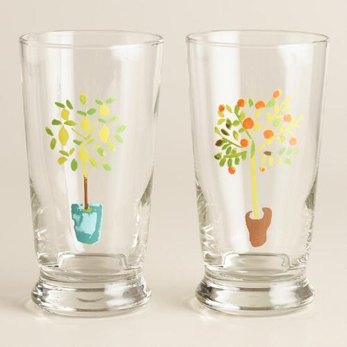 Herb Garden Glass Tumblers, Set of 2