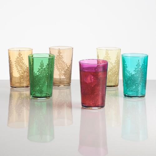 Paisley Moroccan Tea Glasses, Set of 6