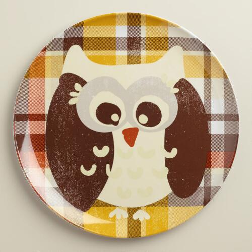 Owl Melamine Plates, Set of 4