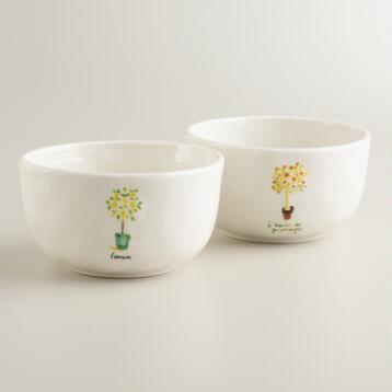 Herb Garden Bowls, Set of 2