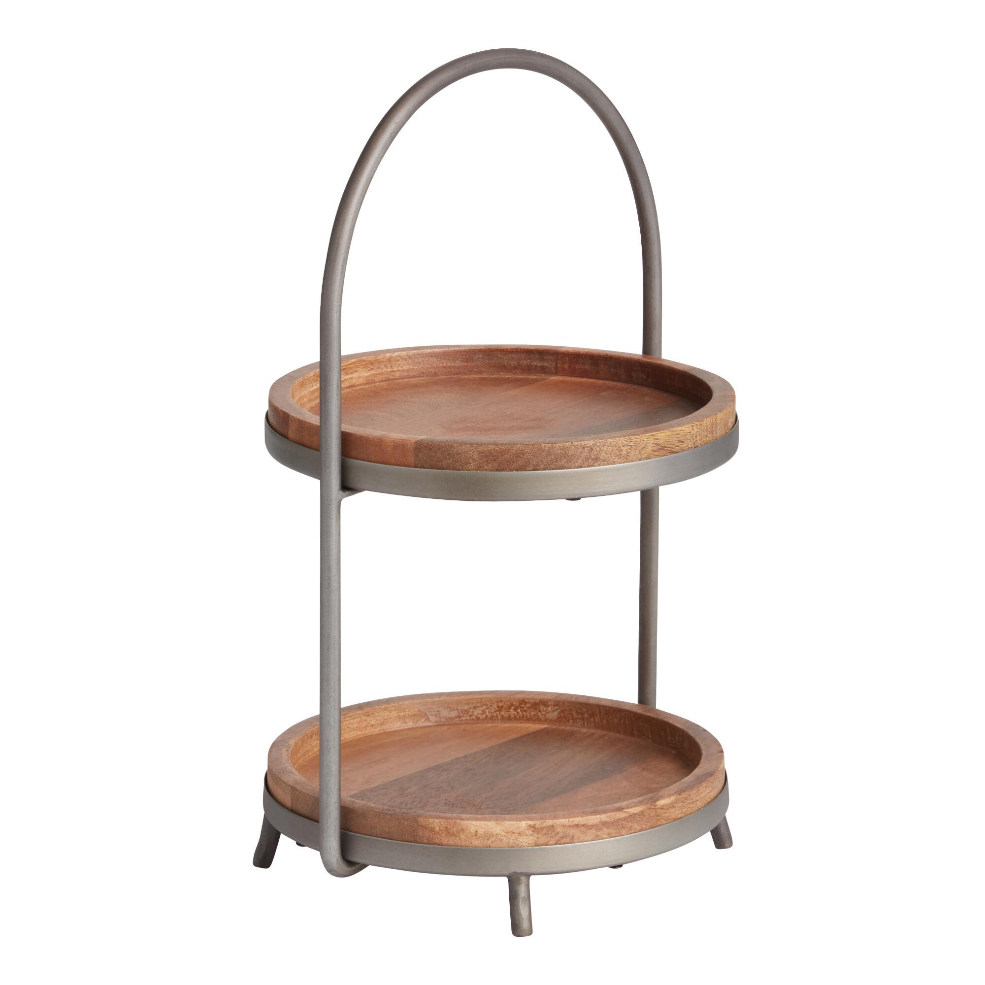 Wooden Tiered Stand ~ Wood and metal tier serving stand world market