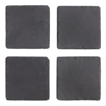 Square Slate Coasters, Set of 4