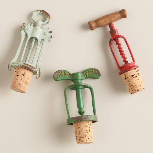 Vintage-Style Corkscrew Wine Stoppers, Set of 3