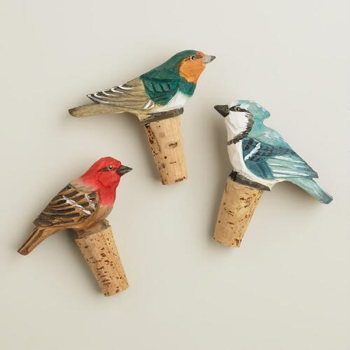 Bird Wine Stoppers, Set of 3