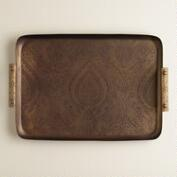 Etched Iron Tray with Mango Wood Handles