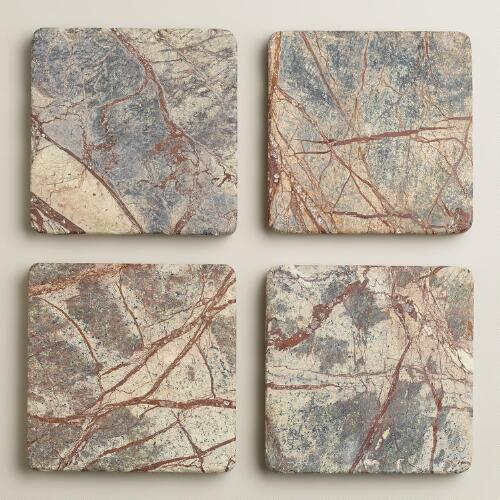 Forest Tumbled Stone Coasters, Set of 4