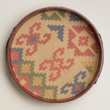 Sahara Jute and Faux Leather Round Tray
