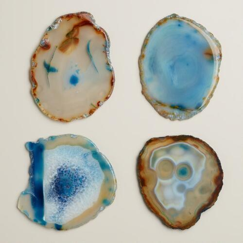 Blue Agate Coasters, Set of 4