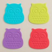 Silicone Owl Coasters, Set of 4