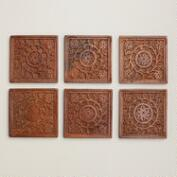 Square Carved Wood Coasters, Set of 6