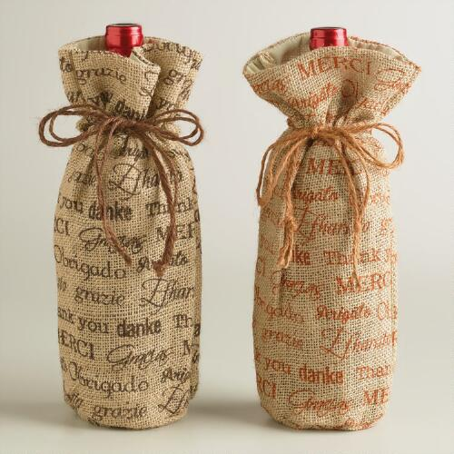 Many Thanks Wine Gift Bags, Set of 2