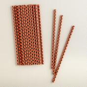 Black and Orange Checkered Halloween Straws, 25-Pack