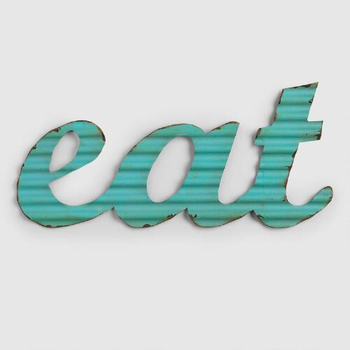 "Aqua ""Eat"" Metal Sign"