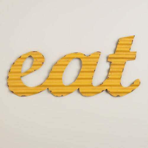 "Yellow ""Eat"" Metal Sign"