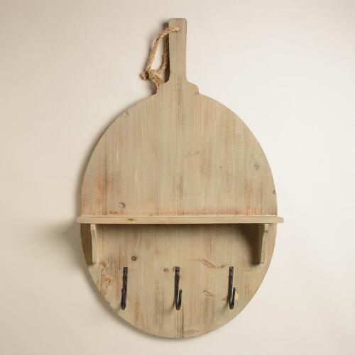 Farmhouse Paddle Shelf and Hook Wall Storage