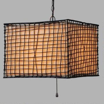 Square Rattan Lattice Outdoor Alana Pendant