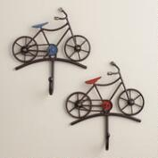 Red and Blue Bicycle Hooks, Set of 2