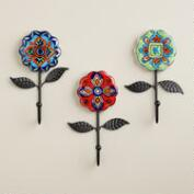 Ceramic Multicolored Floral Hooks with Leaves, Set of 3