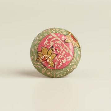 Pink and Green Floral Wood Knobs, Set of 2