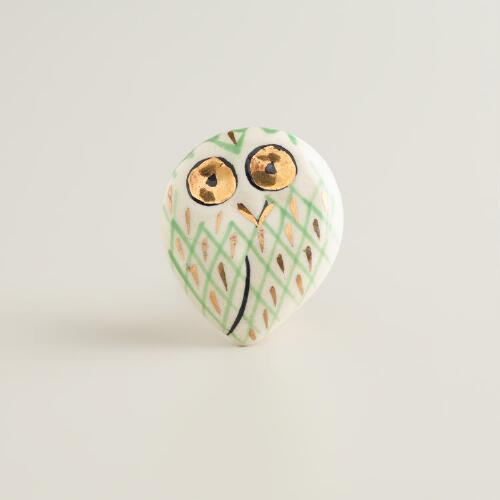 Ceramic Owl Knob, Set of 2