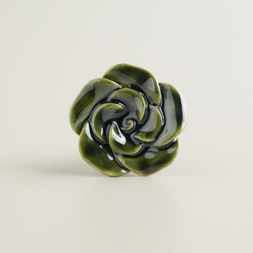 Ceramic Green Rose Floral Knobs, Set of 2